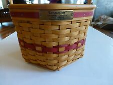 Longaberger Christmas Collection 1997 Edition Snowflake Basket Red Weave, Lid