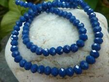 100 pce Deep Blue Faceted Abacus Glass Beads 6mm x 4mm