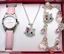 Girls Gift Set, Pink Watch, Necklace & Charm Bracelet, Ravel Little Gems Kittens