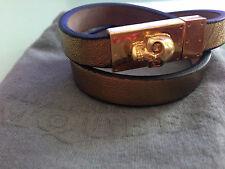 ALEXANDER MCQUEEN Gold Tone Skull Double Wrap Leather Bracelet - Metallic Sugar