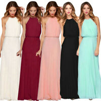 Women Fashion Chiffon Sleeveless Halter Prom Evening Party Long Maxi Loose Dress