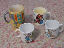 Lot vintage plastic mugs Mickey Mouse Raggedy Ann Bunny Ringling Brothers kids