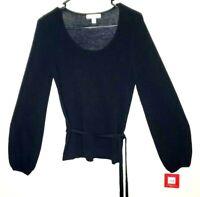 Isaac Mitzrahi Top Tunic Black Womens Scoop Neck Tie Waist Size Small