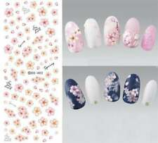 Nail Art Water Decals Transfers Stickers Spring Summer Pink Flowers Floral DS403
