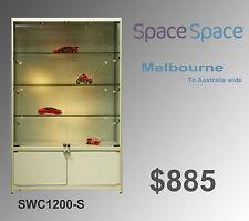 1.2m x 2m  Glass Showcase/Cabinet (silver) /LED  lights/ castors