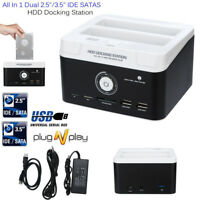 "Dual 2.5""/3.5"" SATA IDE HDD Docking Station Hard Disk Drive Dock OTB Card Reader"