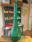 Vintage Tall Green Textured Glass Genie Bottle – Great Colour & Shape!