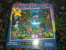 Dowdle Folk Art Wild Jungle 100 Jigsaw Puzzle Rainforest Animals Complete Tigers