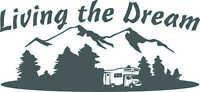 MOTORHOME CAMPER VAN CARAVAN / STICKERS /DECAL / GRAPHIC BLACK LIVING THE DREAM