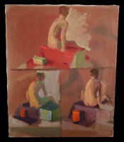 3 VIEWS VINTAGE FIGURATIVE OIL PAINTING FROM CALIFORNIA ESTATE MYSTERY ARTIST