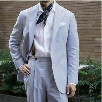 Blue Striped Seersucker Men's Summer Soft Suits Leisure Beach Formal Tuxedos
