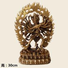 "12"" Tibet Buddhism Pure copper gilt hand made Kalachakra Buddha statue"