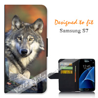For Samsung Galaxy S7 Wallet Flip Phone Case Cover Real Wolf Y00944