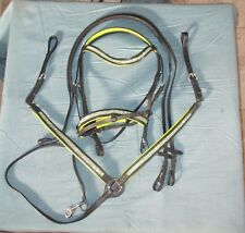 English Bridle, matching breast collar, bling and color padding - Black and Lime