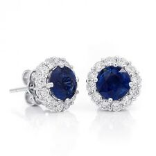 Natural Blue Sapphires 2.60 carats set in 18K White Gold Earrings