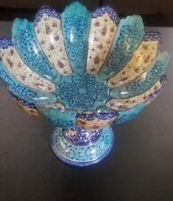 Persian Mina Kari Painted Handmade Fine Art Copper Enamel Bowl Hanging