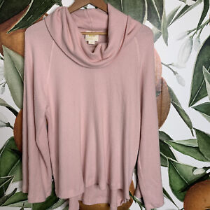 Anthropologie Maeve Size L Large Cowl Neck Pink Ribbed Soft Sweater