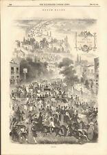 1844 ANTIQUE PRINT - HORSE RACING - EPSOM RACES 1844, THE ROAD