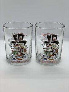 DON ED HARDY DESIGNS DOUBLE ROCK GLASS TUMBLER SKULL DICE LOVE KILLS - SET OF 2