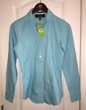 NWT $98 C WONDER Oxford Polo Top Tiffany Blue Button Down Blouse Women's XXS