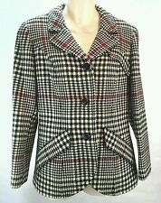 Vintage Pendleton Women's Plaid Red Black Cream Pure Wool Jacket Coat Medium M