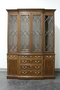 Chippendale Style Banded Mahogany Breakfront China Cabinet by White of Mebane