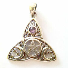 .925 Sterling Silver Celtic Wicca Sun Moon Pentacle Synthetic Amethyst Pendant