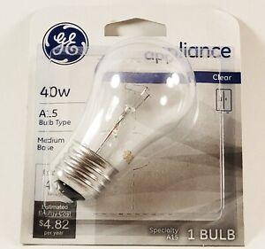 GE Appliance Clear Light Bulb 40w A15 Bulb Type Medium Base 415 Lumens