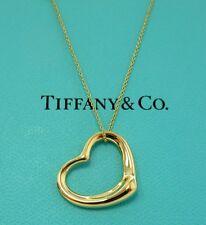 TIFFANY & Co. 18K Gold Elsa Peretti Open Heart Pendant Necklace Medium 22mm