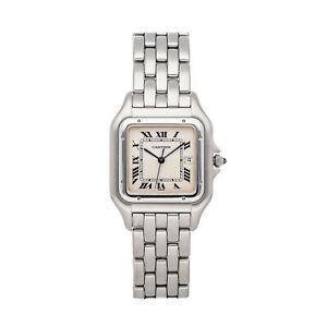 Cartier Panthere Large Model Quartz 29mm Steel Ladies Bracelet Watch W25032P5