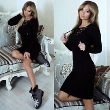 UK Women Lace up V Neck Knitted Bodycon Jumper Dress Ladies Winter Party Dresses Army Green 14