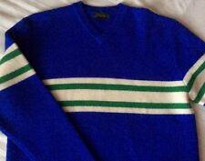 J Crew Wool Sweater Blue Stripe Long Sleeve V-neck Knit L Large Vintage Classic