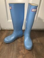 womens 7 hunter tall rain rubber boots light baby Tiffany blue mens 6 EUR 38