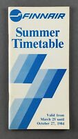 FINNAIR AIRLINE TIMETABLE SUMMER 1984 ROUTE MAP