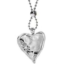 Large silver colour chunky love heart hammered pendant & bead long necklace
