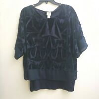 Chicos Navy Burnt Out Top attached Tank Top Size 3/XL Short Sleeves Chiffon Trim