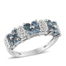 925 Sterling Silver Round Aquamarine, Fashion Ring for Women Size 6 Cttw 0.8 -ST