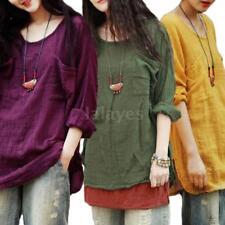 Plus Size Women Girls Long Sleeves T Shirts Cotton Linen Casual Loose Top Q2N2