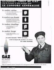 PUBLICITE ADVERTISING 105  1958  GAZ DE FRANCE   confort TOUT AU GAZ