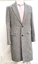 NEW EIDOS NAPOLI By ISAIA Mens Wool Grey Houndstooth 2-Button Coat Sz 38 R