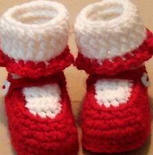 Custom Design Handmade Crochet Red Mary Jane Baby Booties