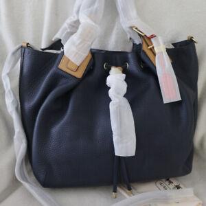 NWT COACH Legacy Leather Drawstring XL Crossbody Shoulder Bag Navy Blue NEW $598