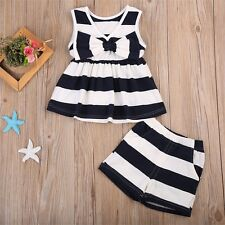 Newborn Toddler Baby Kids Girl Bowtie Tank Top Dress+Shorts Pants Outfit Clothes