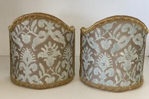 "Venetian Cloth Mini Lamp Half Shades, 4"" Wall Sconce Light Shields Clip On"