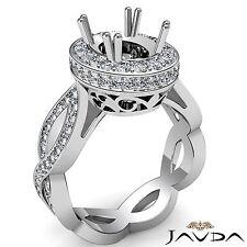 Curve Shank Diamond Engagement Halo 1.3Ct Ring 14k White Gold Oval Semi Mount