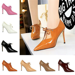 Women Lace Up High Heels Party Pumps Ladies Patent Leather Pointy Toe Work Shoes