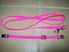 SMALL DOG PUPPY KITTEN RABBIT COLLAR + LEAD SET BRIGHT PINK ADJUSTABLE