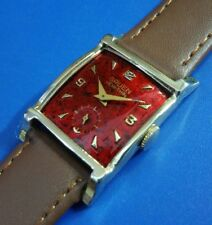 Vintage 1940s Mans Gruen *VERI-THIN* Hand Winding Red Dial, Fully SERVICED