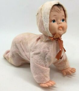 Battery Operated Crawling Baby Doll Japan Tin Vinyl Vintage 1950s