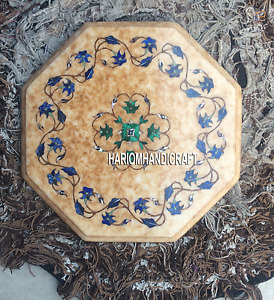 12'' Marble Table Top Malachite Lapis Floral Inlay Handmade Christmas Gift H5371